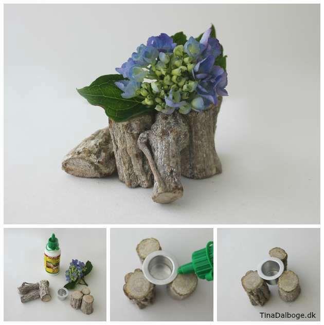 Hvordan laver man en nem blomsteropsats af træmix. Se hvordan og køb lysmanchetter, træmix og lim i kreahobshop.dk