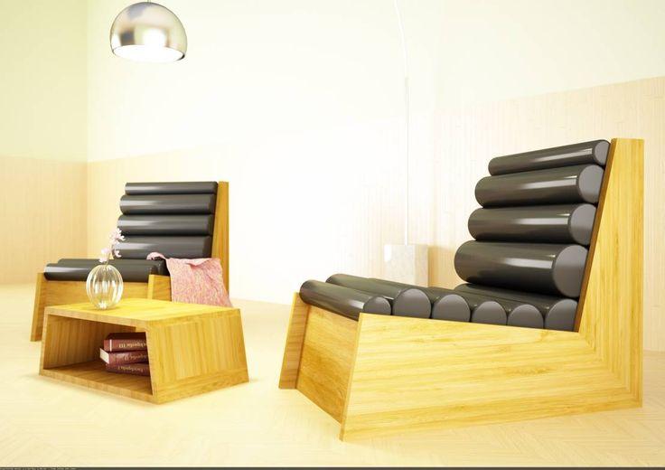 Poltrona Cyl - pelle nera : Divani & Poltrone di Architetto Melissa Domenici