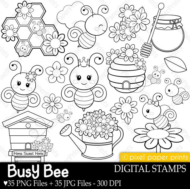 Busy Bees - Digital stamps - Bee stamps - Line art by pixelpaperprints on Etsy https://www.etsy.com/uk/listing/250182113/busy-bees-digital-stamps-bee-stamps-line