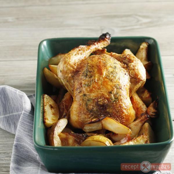 Sült csirke kakukkfűvel, körtével
