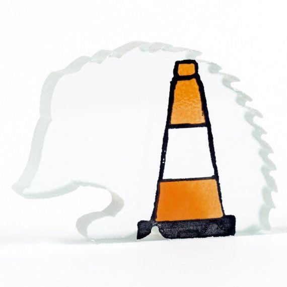 Traffic Cone Hedgehog Road Hog Glass by flyingcheesetoastie, £30.00