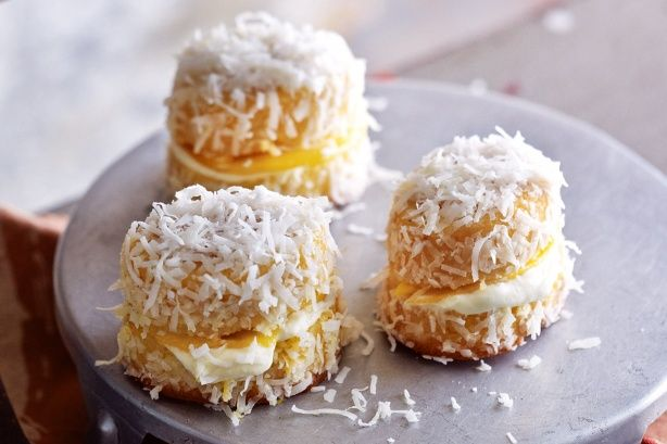 This recipe is a blend of two of Australias favourite cakes - friands and lamingtons - with the summery taste of mango.