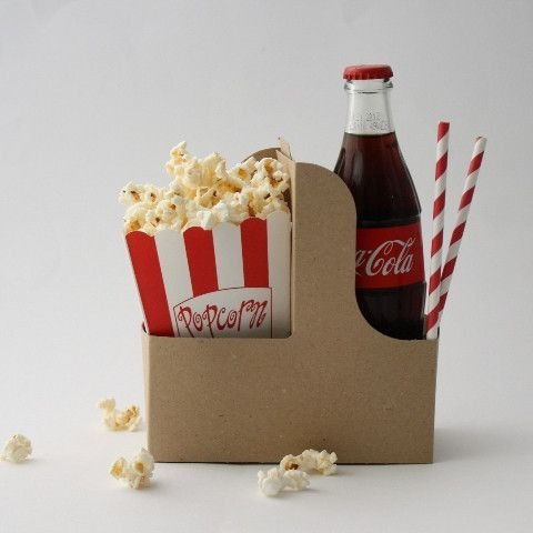 Outdoor movie party snack holders.