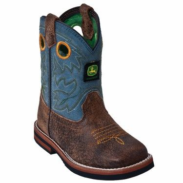 These stylish boys leather cowboy boots from John Deere feature a sanded blue top, cement construction, and non marking rubber outsole. Constructed from high quality materials, these boots are durable