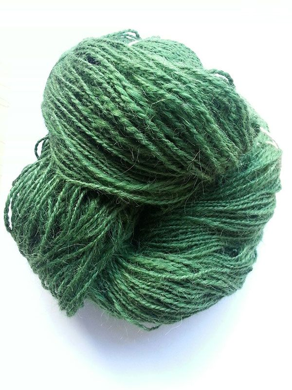 Hand spun green alpaca yarn!