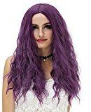 """Aosler 24"""" Wig Women Long Wavy Curly Hair No Bangs Wigs for Cosplay,Costume Party,Halloween (Purple)"""