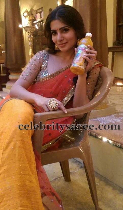 Samantha in Net Glitter Blouse | Saree Blouse Patterns