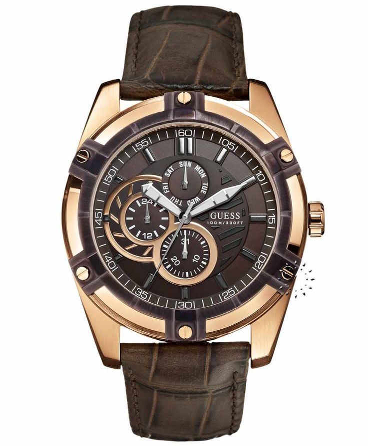 GUESS Rose Gold Case Brown Leather Strap Η τιμή μας: 203€ http://www.oroloi.gr/product_info.php?products_id=36255