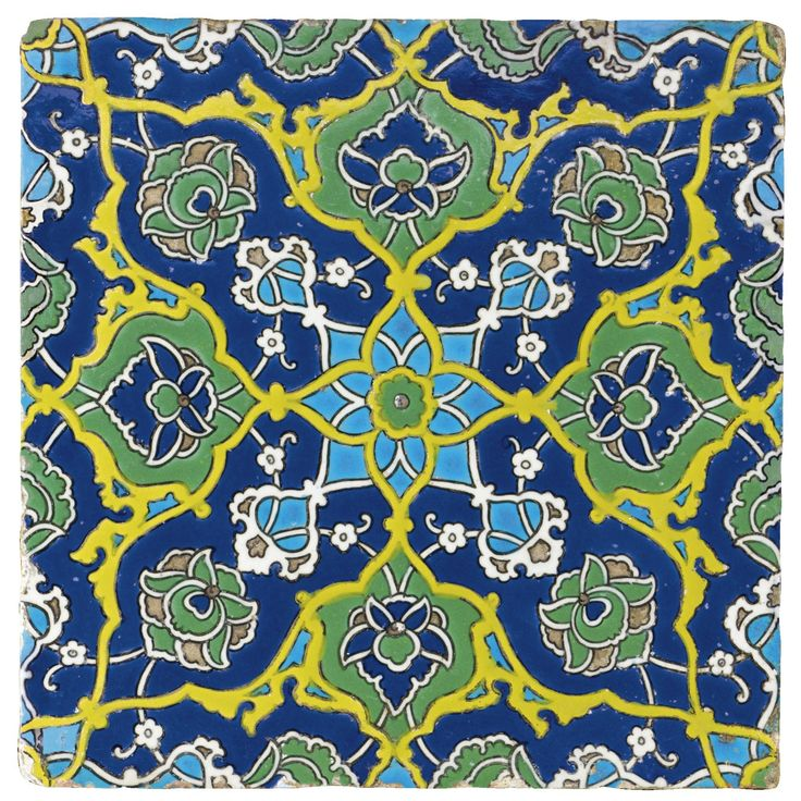 A rare early Ottoman cuerda seca pottery tile, Turkey, first half of 16th century