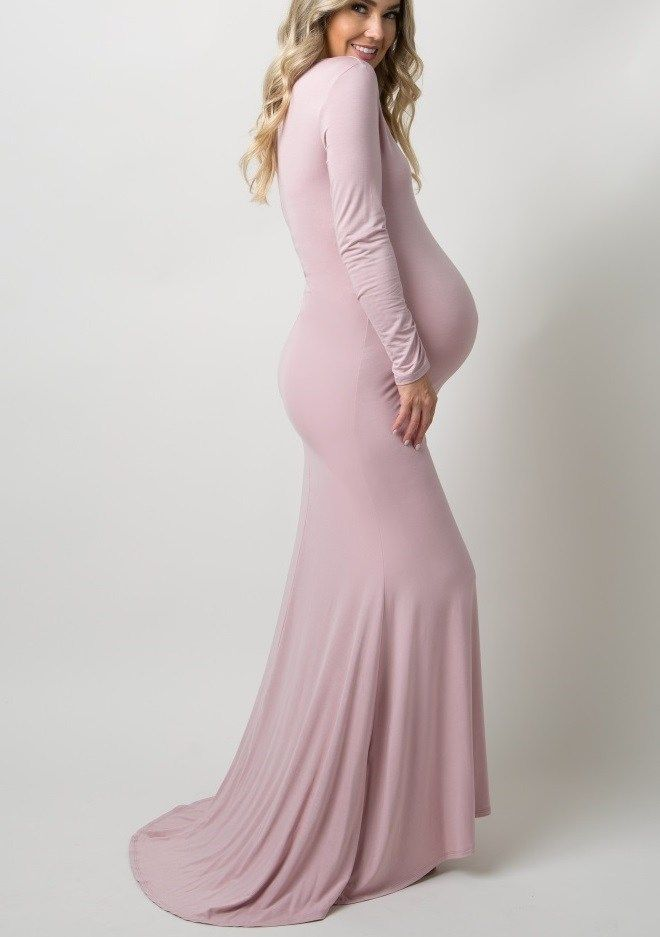 Pink Long Maternity Dresses For Baby Shower Long Sleeve Maternity Dress Maternity Long Dress Lace Maternity Dress