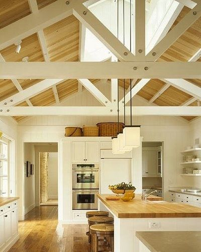 Love the peaked ceiling and exposed beams in here. So lovely. Looks like a house in Maine.