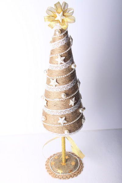 Jutové vánoční dekorace: stromeček
