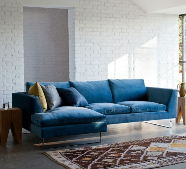 canapé d'angle en bleu