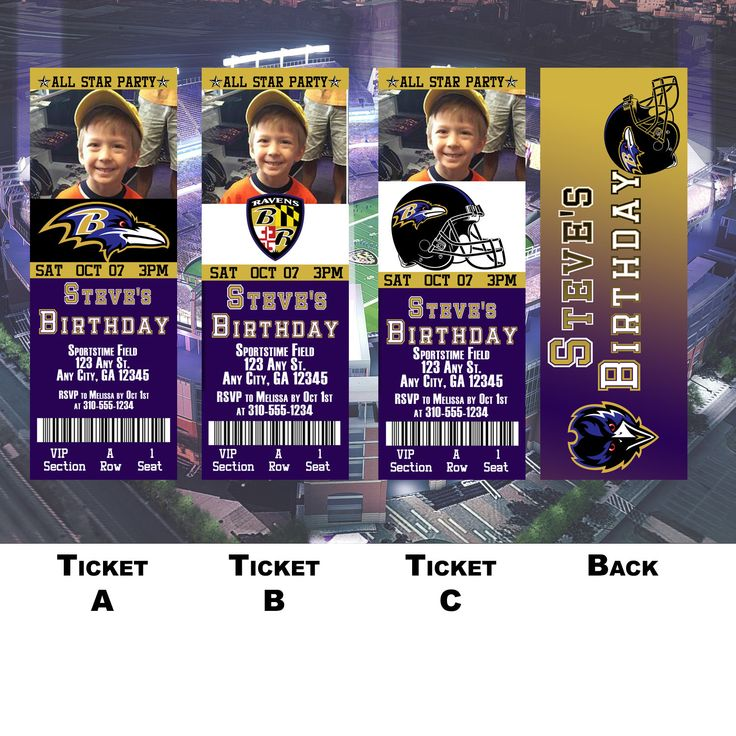 Baltimore Ravens Ticket Invitation by BoxPartyEvents on Etsy