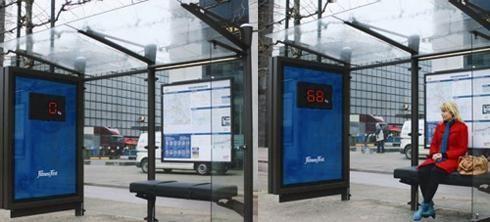 Parada de autobús que te dice el peso: Publicidad Fitness First