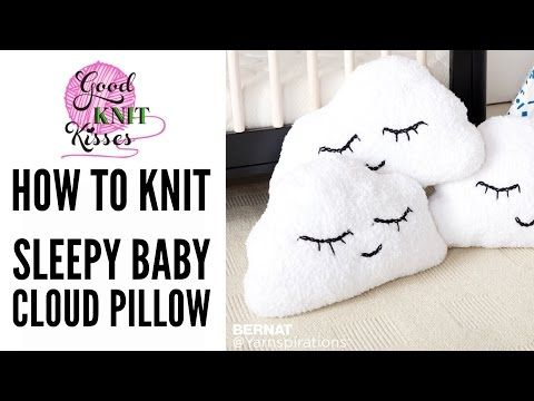 How to Knit Head in the Clouds Knit Pillow | Sleepy Cloud Emoji Pillow - YouTube