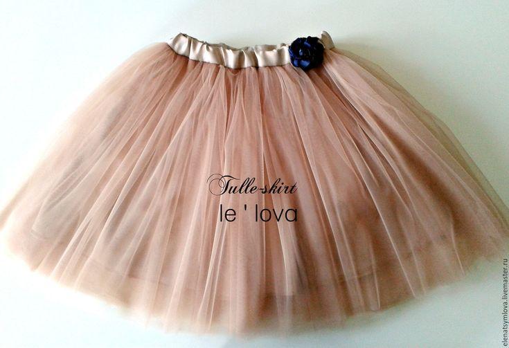 Купить Детская юбка из фатина цвет Ириска - бежевый, однотонный, юбка из фатина, балетная пачка