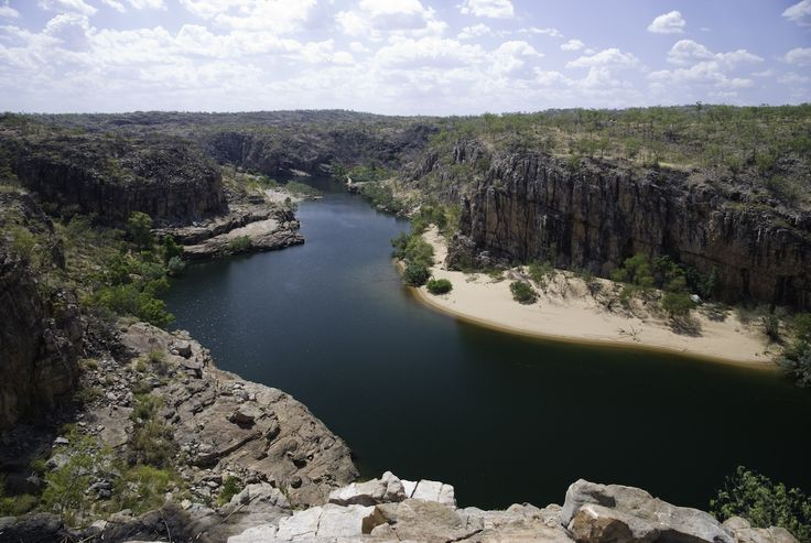 Katherine Gorge, Australia - Located in the Nitmiluk National Park in Northern Territory, the gorge follows the Katherine River, which starts in Kakadu. The relatively safe freshwater crocs may be found in most parts of the river.