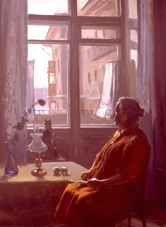 """Evgeny and Lydia Baranovs from the """"Moscow Windows"""" series, """"Winter Day Between the Curtains"""""""
