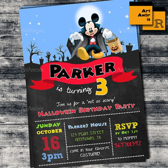 Halloween Birthday Invitation Mickey Birthday by ArtAmoris on Etsy