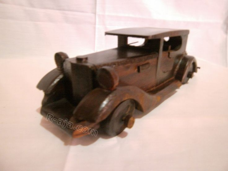 handicraft Miniature Wooden Classic Cadillac Car made of Wood.