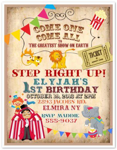 10 Circus Carnival Clown Birthday Party Invitations Custom Printed Envelopes | eBay