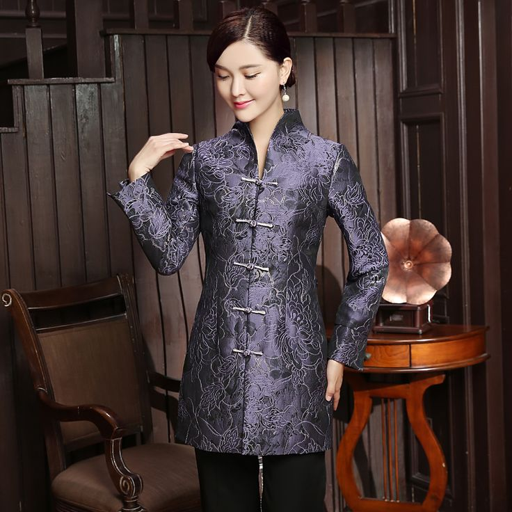 Charming Frog Button Open Neck Long Jacket - Light Purple - Chinese Jackets & Coats - Women