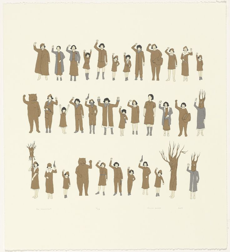 """Marcel Dzama. the movement. 2004. 16 3/16 x 14 1/4"""" screen print with watercolor additions"""
