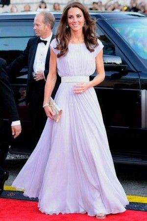 Celebrity Kate Middleton's White Ruched Dress At Belasco Theater 2011