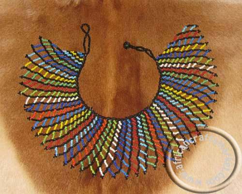 traditional african necklaces | African Handcrafted Traditional Beaded Zulu Necklace -Large