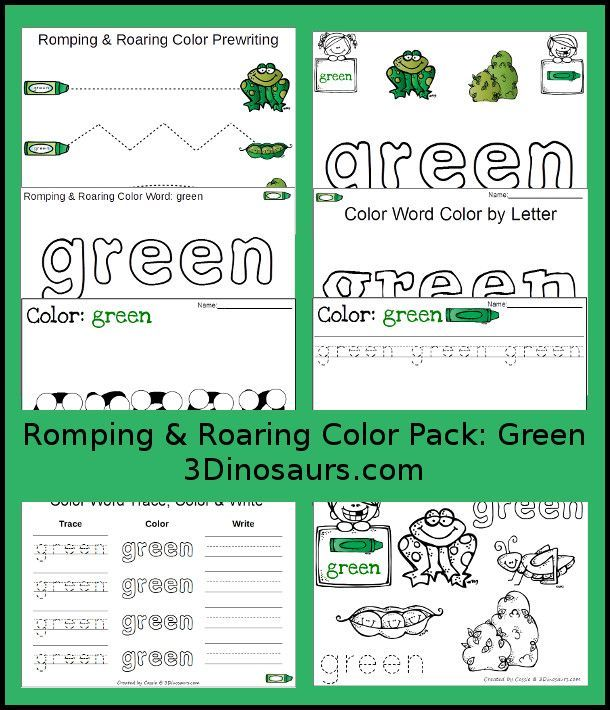 free romping roaring color pack green 8 pages of activities focused on the color word green. Black Bedroom Furniture Sets. Home Design Ideas