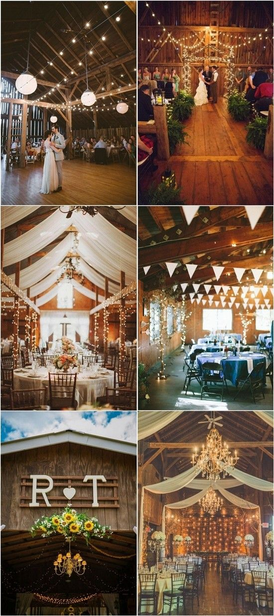 Country Barn Wedding Decor Ideas with lights / http://www.deerpearlflowers.com/rustic-barn-wedding-ideas/2/