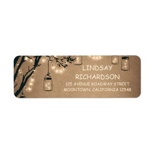 Romantic Rustic Fireflies Mason Jars Wedding Label