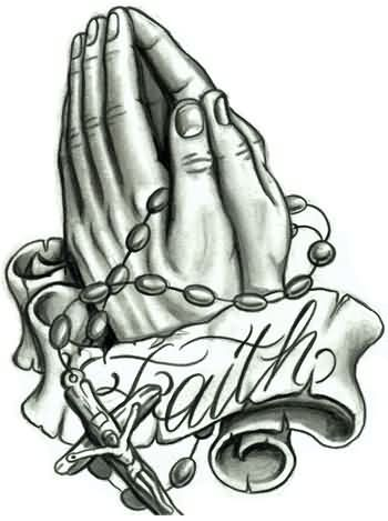 Praying Hands With Rosary Bead Tattoo Design