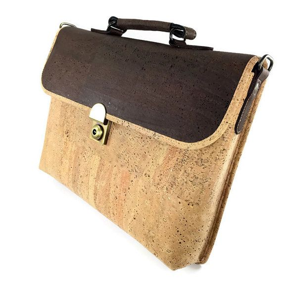 Briefcase Made from Cork Fabric,FREE SHIPPING,Mens Work Bag Size A4,Womens Cross Body Attache Case,Handmade Cork Handbag Made in Portugal