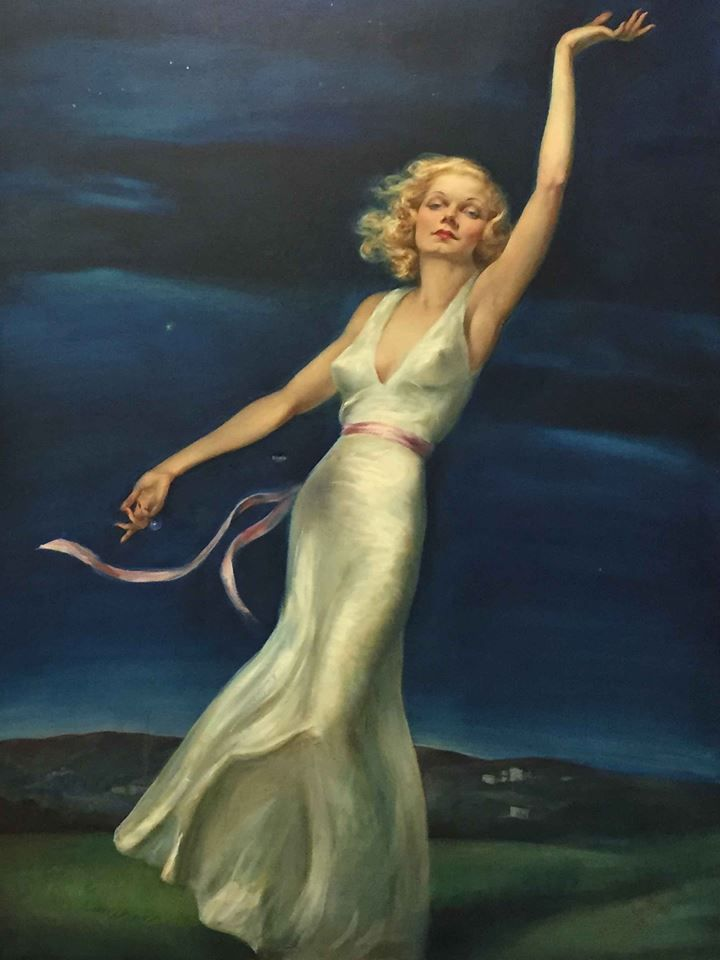 "Jean Harlow ""Farewell to Earth"" by Tino Costa, a lost painting from 1937 discovered in 2016 and sold at auction in November. It returns to Hollywood as the centrepiece of an all-new exhibit commemorating the 80th anniversary of Harlow's passing and the creation of this painting."