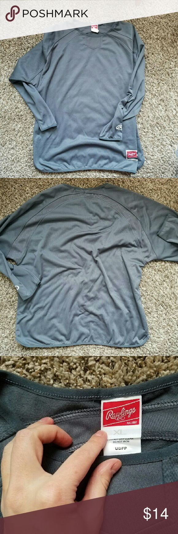 NWOT Rawlings long sleeve Gray athletic shirt by Rawlings. Never been worn! No offers accepted for this item. Bundle 4 items that are listed for $8 each and pay only $20! Rawlings Shirts Tees - Long Sleeve