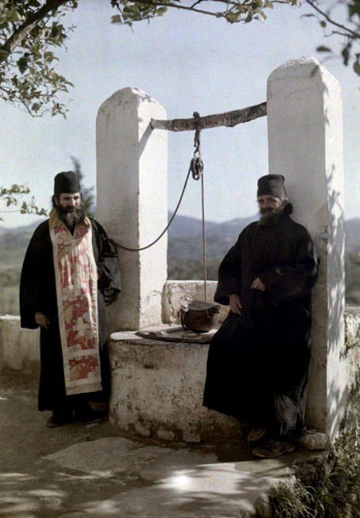 """A monk and a priest at the monastery Corfu,""""Archives of the Planet"""" Albert Kahn"""