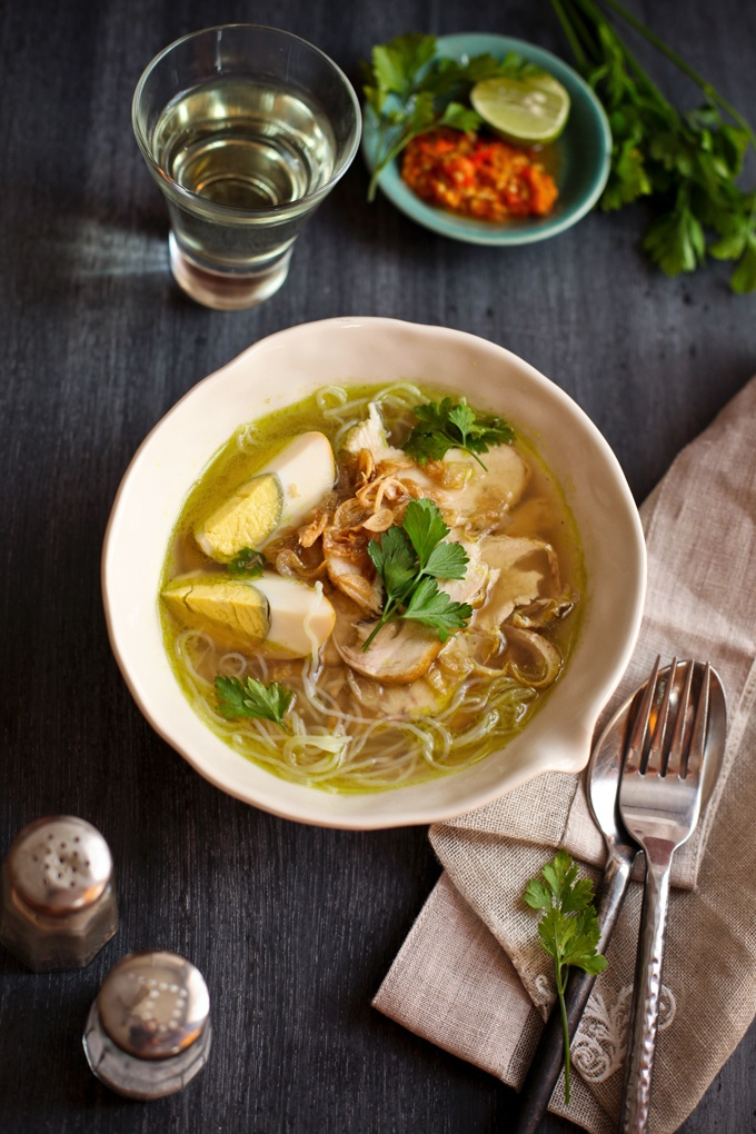 soto ayam.  Indonesian chicken soup.  Nothing better, but you MUST have all the condiments!