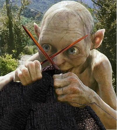 Gollum knitting- are those Dyak needles? Precious!