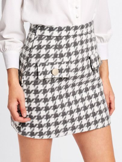 Houndstooth Tweed Skirt -SheIn(Sheinside)