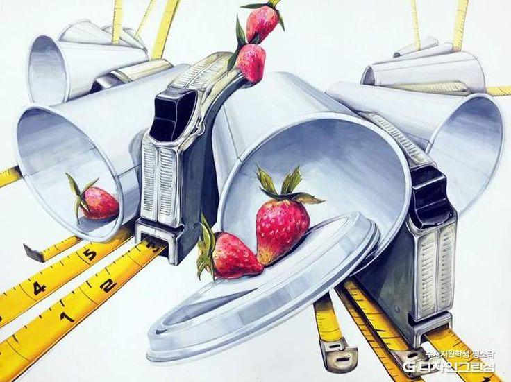 줄자, 딸기, 테이크아웃 종이컵
