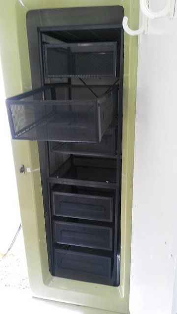 IKEA LENNART storage units fastened together to fill a Trillum trailer closet with sturdy useful drawers http://www.handyhomestead.ca/nomad/one-year-update
