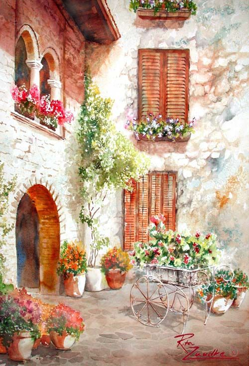 Sirmione Courtyard - Lake Garda Italy - Watercolor Painting by Rita Zaudke