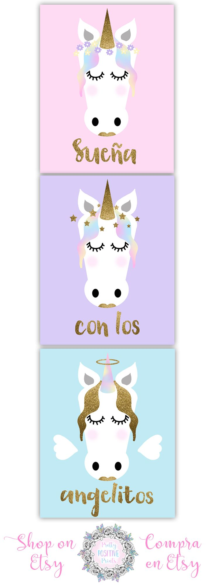 Nursery Prints Set Of Three Decor New Baby Unicorns Pastel