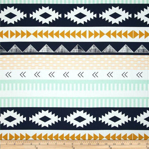 Arid Horizon, Southwest, Aztec, Cotton Print, Tribal, Fabric By the Yard, Half Yard, Quarter Yard, Arizona, Indian, Aqua Navy Gold