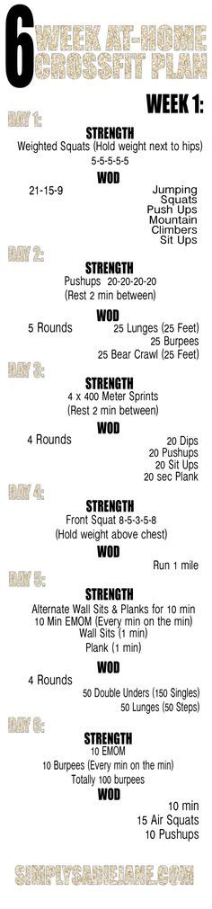 6 week AT-HOME CrossFit INSPIRED workout plan!!! WEEK 1!!! I want to follow your 6 week journey!! Post with the hashtags #6weekstofab