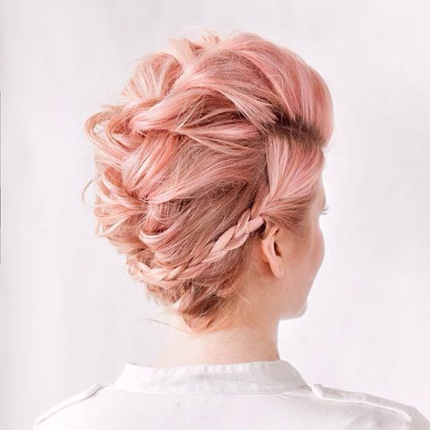 Teased French Braid Faux Hawk Updo