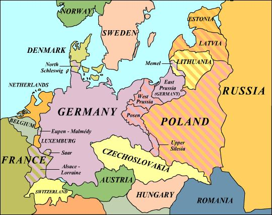 map of europe after treaty of versailles map after versailles when austria hungarys empire was split apart germany was shrunk and the ottoman empire was