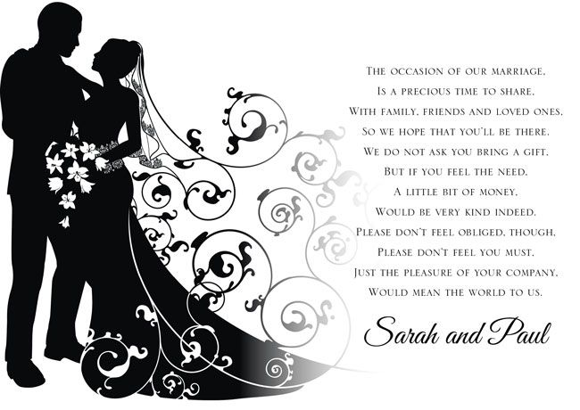 Poems For Wedding Gifts Money : with a bride groom names wedding date ebay idea for wedding invites ...